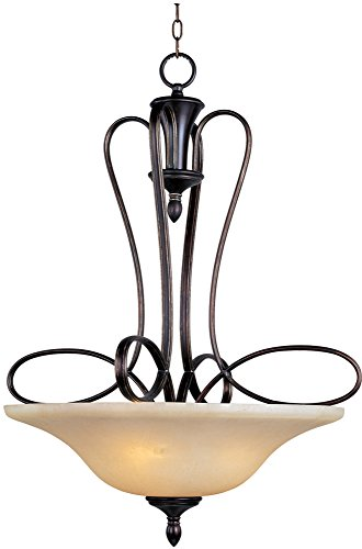 (Maxim 21303WSOI Infinity 3-Light Pendant, Oil Rubbed Bronze Finish, Wilshire Glass, MB Incandescent Incandescent Bulb , 100W Max., Dry Safety Rating, Metal Shade Material, Rated Lumens)