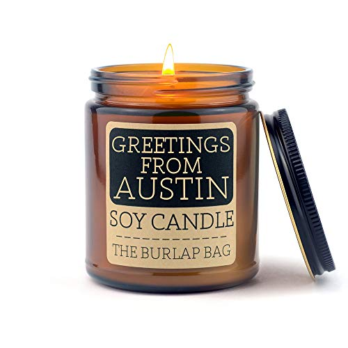 The Burlap Bag 9oz Soy Candles (Greetings from Austin)