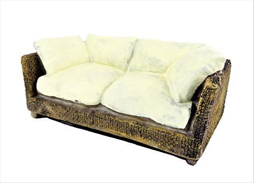 Melody Jane Dollhouse Brown Rattan Sofa Resin 1:12 Modern Conservatory Garden Furniture (Furniture Rattan Modern Conservatory)