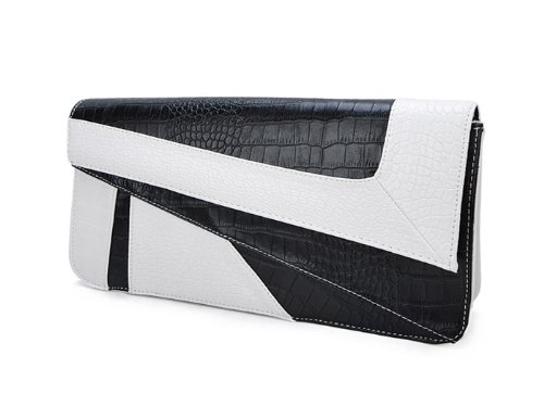 Deshiny White Serpentine Leather Clutch product image