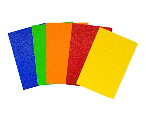 Creative Hands by Fibre-Craft Glitter Foam Sheets 5-1/2-Inch by 8-1/2-Inch, 15/Pkg, Primary Colors