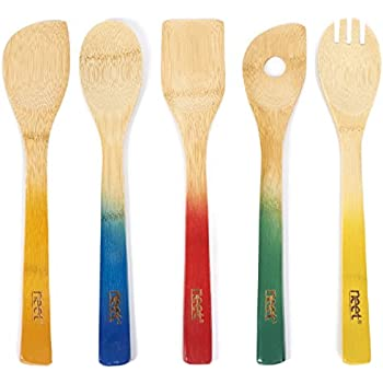 Colorful Bamboo Cooking Utensils - Wooden Serving Set | 5 Piece Utensil Set | Non Stick Wood Spoon & Spatula Gadgets For Kitchen | Cute Gift For Chefs