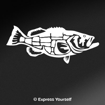 Goliath Grouper (White - Reverse Image - Large) Decal Sticker - Saltwater Fish Collection