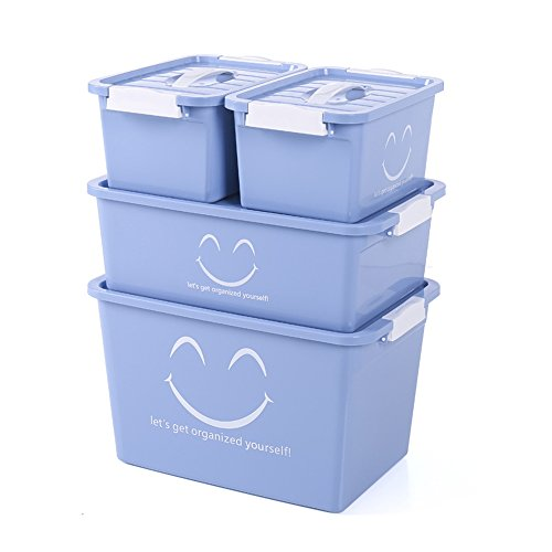 SINBROL Storage box stool pack collection case storage containers Container Snack Toy Storage Bag Desk receiver box Organization Plastic cabinet Wardrobe Clothes Small Plastic Box,4 Pack by SINBROL