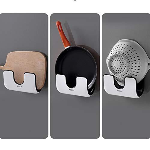 Dergo ☀Home & Garden - Kitchen Dining & Bar -Double Layer Punch-Free Kitchen Rack Wall-Mounted Pan Lid Rack Drain Shelf (B) from Dergo