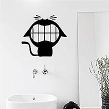 Funny Cat Black Vinyl Sticker Bathroom Toilet Art Wall Decal Home Decor