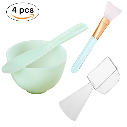 Lemoncy 4 Pack Face Mask Mixing Tool Kit Facial Mask Mixing Bowl And Spatula Silicone Face Mask Brush with 2 in 1 Measuring Cup Spoon for Mixing Modeling Mask Clay Mud Mask DIY Tool (Spatulas Measuring)