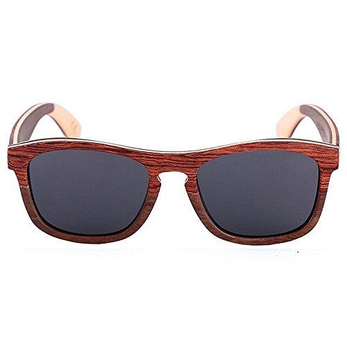 Hecha a Madera para Sol Yxsd de de Gafas Protección Ojos SunglassesMAN Retro Proteger Libre Sol polarizado Gris Color para Hombre Aire al Montar Cuadrado UV Gris los Gafas Mano vWazqxnqw