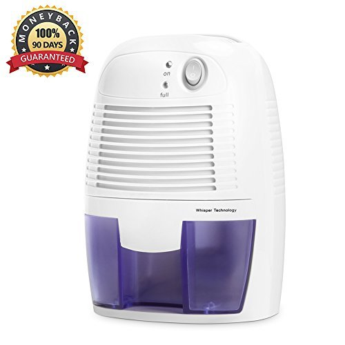 Mini Air Dehumidifier- INOFIA 500ml Compact and Portable Dehumidifier Mould / Damp/ Moisture Remover - Perfect for Home /School / Office, White, 60-DAY