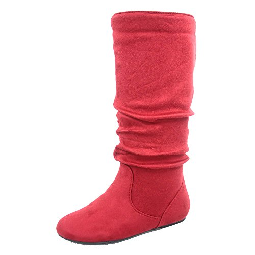 Shoes Slouchy Heel Round Top Boot Data Moda 1 Mid Red Cute amp; Calf Comfort Toe Flat Women's nxIpHxPq