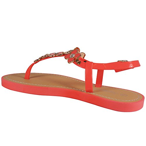 LoudLook New Womens Ladies Strap Buckle Slingback Toe-Post Flat Summer Shoes Sandals Size 3-8 UK Coral hJOgrT