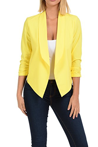 Auliné Collection Womens Casual Lightweight 3/4 Sleeve Fitted Open Blazer Yellow XL