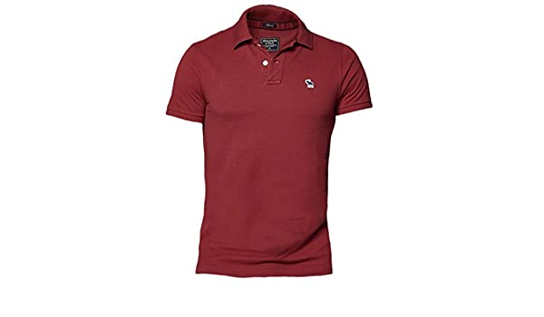 Abercrombie Hombre Icono Muscle Fit Polo Shirt tee Rojo Granate XX ...