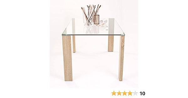 Homely - Mesa de Comedor ROSSET con Patas de Metal laminadas Color Madera - 140x90 cm: Amazon.es: Hogar