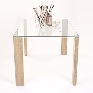 Homely - Mesa de Comedor ROSSET con Patas de Metal laminadas Color Madera - 140x90 cm