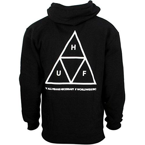 HUF Men's Triple Triangle Pullover Hoodie, Black,