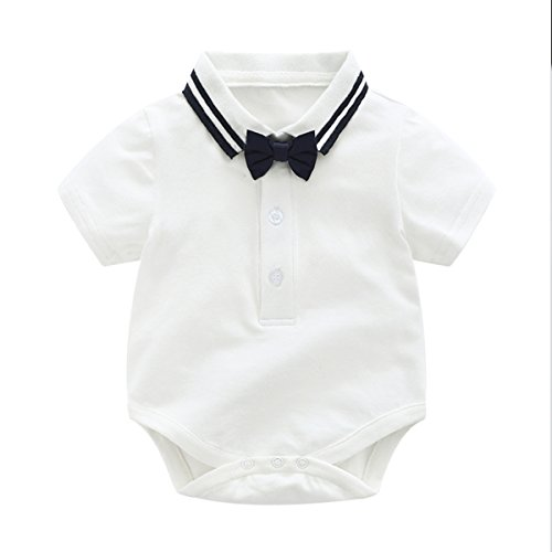 Baby Boys Gentleman Outfits Wedding Suits, Infant Short Sleeve Shirt+Bib Pants+Bow Tie Overalls Clothes Set by Boarnseorl (Image #3)