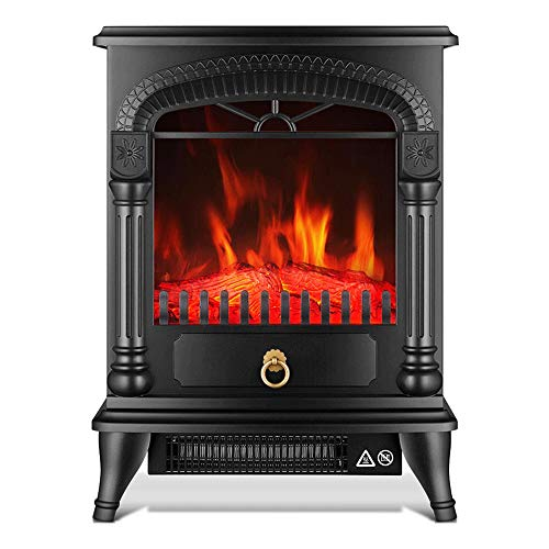 Cheap RKRGQ Electric Stove Fireplaces Log Burner Electric Fire Stove Electric Stove Fire Freestanding Electric Fireplace Fire Wood Log Burning Effect Flame Heater Stove1000/2000W Black Friday & Cyber Monday 2019