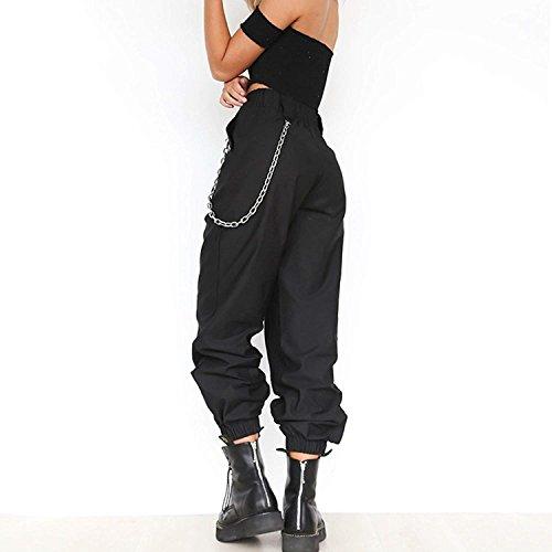 High Libero Streetwear Style Kette Mit Waist Estivi Nero Ragazze Festa Lunghe Tempo Harem Swag Pantaloni Monocromo Elegante Baggy Fashion Tendenza Donna waqAOYv