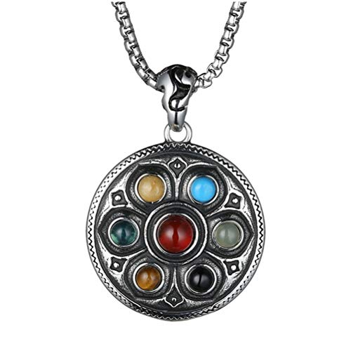 HIJONES Men's Stainless Steel Vintage Gothic Buddhist Tibetan Lotus 7 Chakra Gemstone Pendant Necklace ()