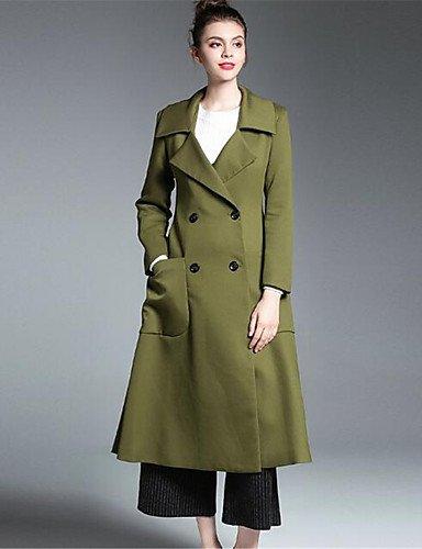 Xuanku À Quotidienne Facile Hiver nbsp;039;s Stand Chic Manches Green Pois Coton laine Rue jaune Moyen Rouge Army Femmes Longues coatssolid 0rxnr8