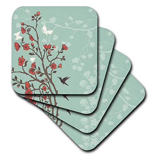 3dRose CST_78448_1 Red Cherry Blossoms with Hummingbirds Against a Blue Background Soft Coaster (Set of 4) ()