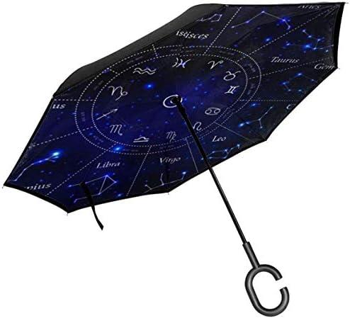 星座星座宇宙星 ユニセックス二重層防水ストレート傘車逆折りたたみ傘C形ハンドル付き