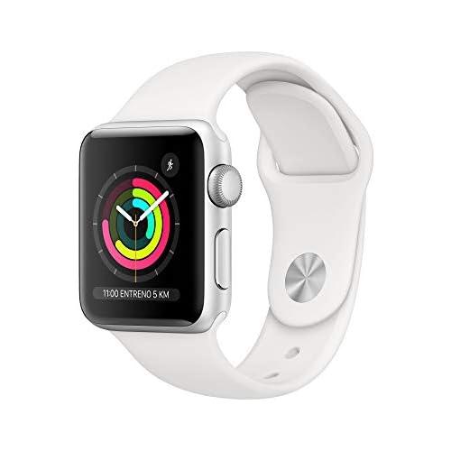 chollos oferta descuentos barato Apple Watch Series 3 GPS 38mm Aluminio en Plata Correa Deportiva Blanco