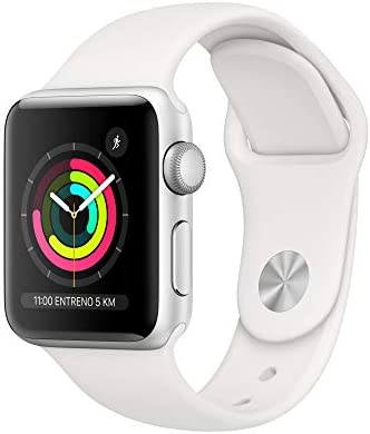 Apple Watch Series 3 (GPS) con caja de 38 mm de aluminio en plata y correa deportiva, Blanca: Amazon.es