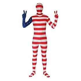 - 41HYvaLenZL - SecondSkin Men's Full Body Spandex/Lycra Suit with USA World Flag Design
