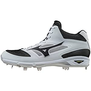 Mizuno Dominant IC Adult Men's Mid Cut Metal Baseball Cleats - White/Black (Men's Size 7)