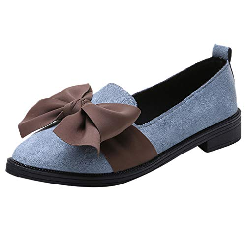 (Mysky Fashion Women Sweet Bowknot Pointed Toe Flock Square Heel Shoes Ladies Casual Wild Single Shoes Blue)