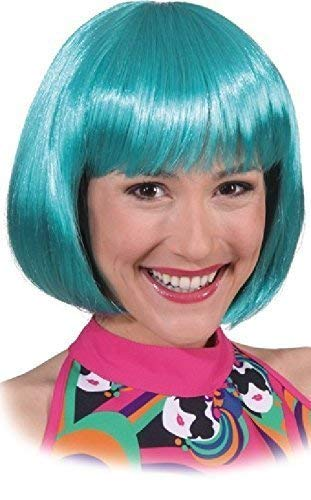 Ladies Teal Blue Short Bob Blunt Cut Fringe Bright Halloween Carnival Fancy Dress Costume Outfit Accessory Wig]()