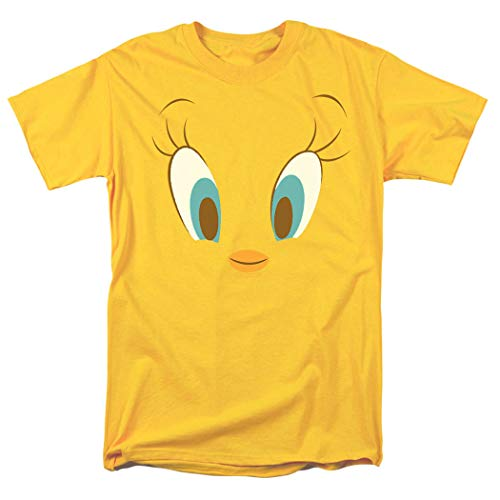 Popfunk Looney Tunes Character Faces T Shirt & Exclusive Stickers (XXXX-Large, Tweety, Yellow)