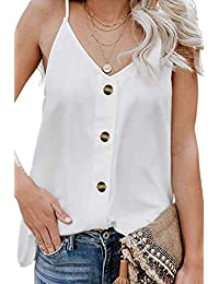 YHBAO Women's Button Down V Neck Strappy Tank Tops Loose Casual Sleeveless Cami Shirts Blouses