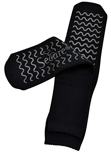a Soft Non Slip Grip Slipper Socks, Black - Fall Injury Prevention Hospital Tread Sock for Safety, Comfort and Warmth ()