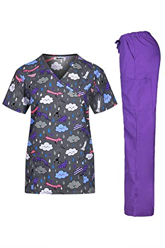 MedPro Women's Printed Medical Scrub Set Mock Wrap Top and Pants Dark Grey XL (Gray And Pink Scrub Tops)