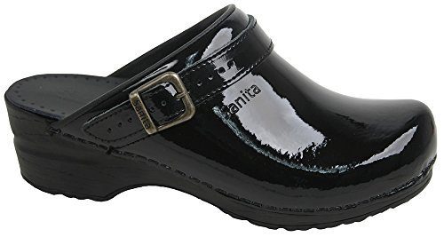 Sanita Womens Freya Open Black Patent Sandals 39 (Patent Leather Clogs)