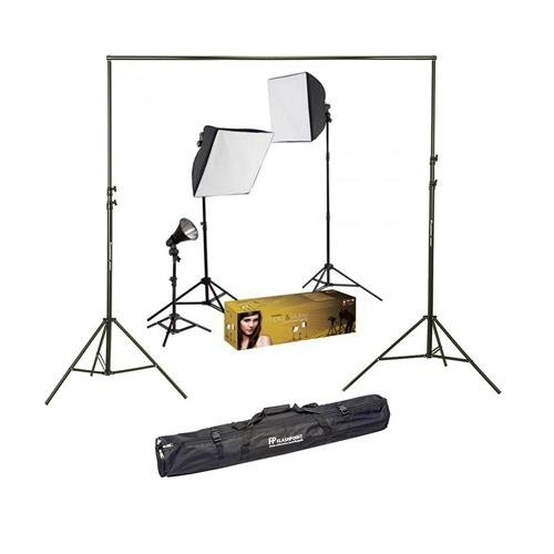 (Westcott Photo Basics uLite Three Light Kit with 3 Constant Output uLites, Softboxes, Stands, Bulbs & Accessories - Bundle with Flashpoint 10' Background Support System)