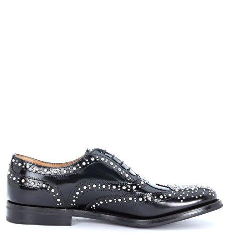 Zapato con cordones Church's Burwood en piel negra con tachuelas en metal Negro