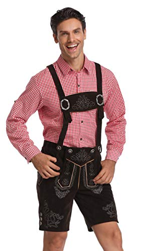 Jane's CUTLE Men's Bavarian Lederhosen, Oktoberfest Leather Trousers-Halloween Costume Set, Dark Brown Trousers with red Shirt, S -