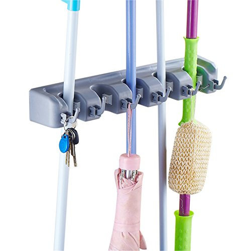 AFUNTA Mop and Broom Holder Wall Mounted Garden Storage Rack 5 position with 6 hooks garage Holds up to 11 Tools