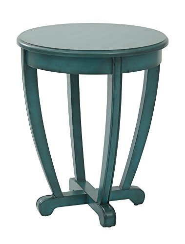 OSP Designs TFN17AS-BL-osp Tifton Round Accent Table Finish, Blue