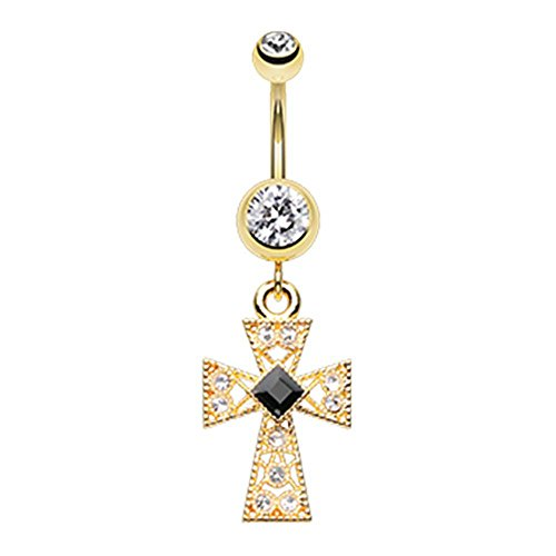 Gold Colored Gemmed Iron Cross Belly Button Ring - 14G (1.6mm) - Sold (Tongue Ring Iron Cross)