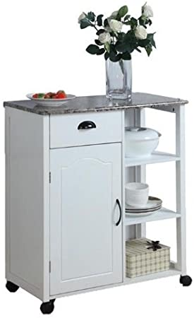 Inroom Designs White Kitchen Island Storage Cart On Wheels With Granite Look Top Portable Great For A Small Kitchen Portable Storage Cabinet Amazon Co Uk Kitchen Home