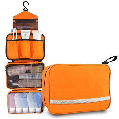 Relavel Hanging Travel Toiletry Bags Toiletry organizer Waterproof Toiletries Bag for Men & Women Bathroom Storage Cosmetic Bag Shaving Kit Orange