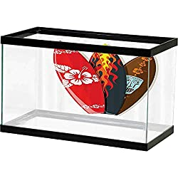 SLLART Fish Tank Surfboard Decor Collection,Surf Boards Abstract Patterns Flame Tropics Tourism Lifestyle Sport Activity Decorative Artwork Underwater Scene Colorful Marine Coral