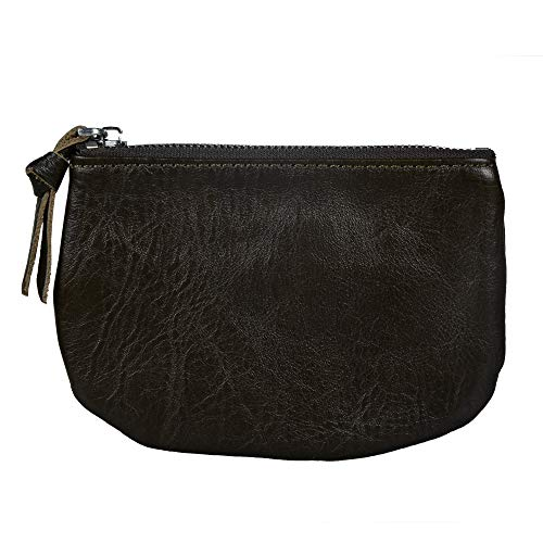 Befen Women Full Grain Leather Tripple Zip Crossbody Bag Crossbody Cell Phone Wallet Purse Bag Phone Wristlet (Black Olive Coin Purse) by befen (Image #4)