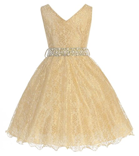 iGirlDress Big Girls Lace Special Occasion Dress, Gold W/Rhinestone Belt, 16 -