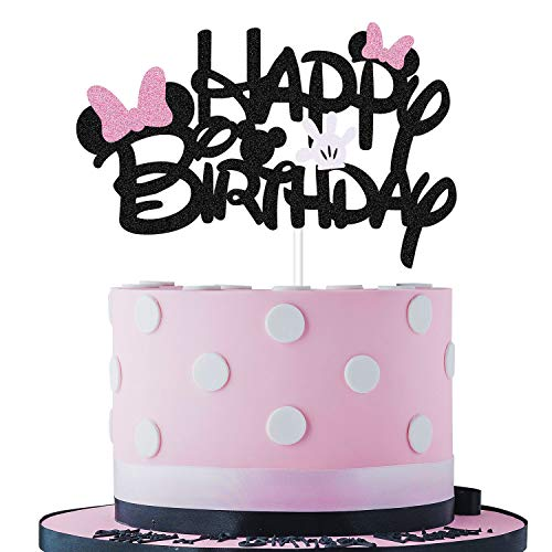 Minnie Mouse Smash Cake (Black Glitter Minnie Inspired Happy Birthday Cake Topper with Pink Bows and White Gloves Girls Birthday Party Decorations)